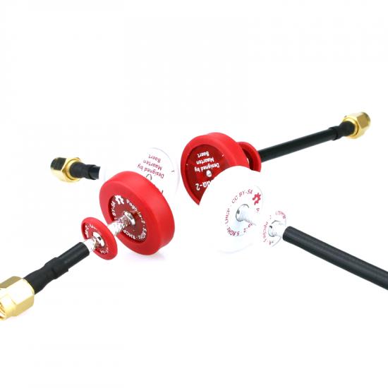 Emax Pagoda 2 Antenna - 5.8G - 50mm/80mm - LHCP/RHCP White/Red - Omnidirectional Omni FPV Flat Panel SMA