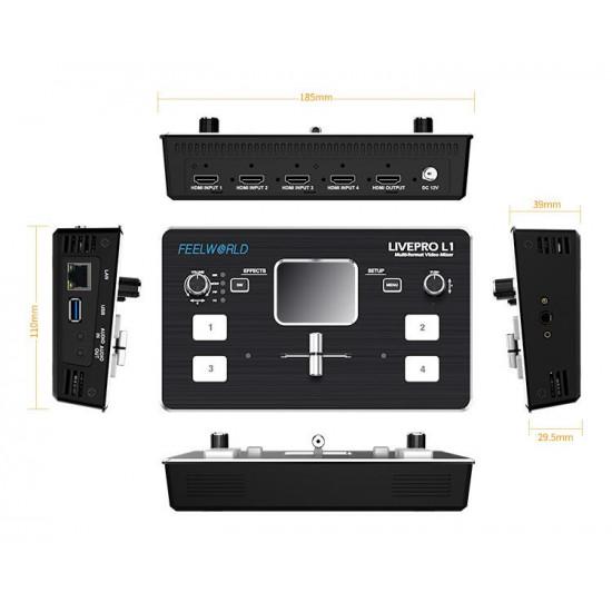 OneDrone FEELWORLD LIVEPRO L1 Multi-format Video Mixer Switcher 4 x HDMI inputs multi cam