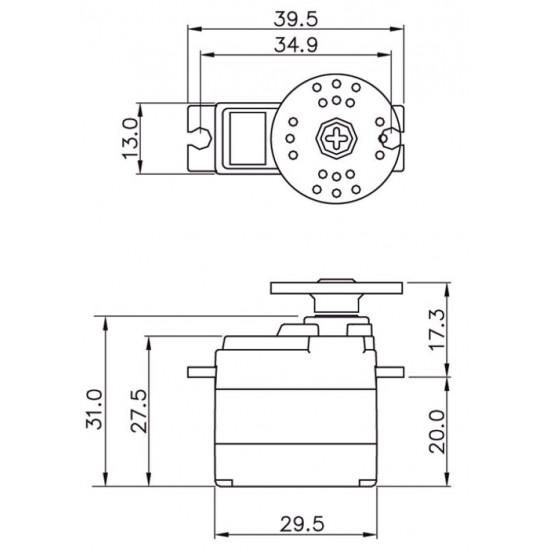 Graupner Servo (20g) DES 587 BB, MG 13 mm