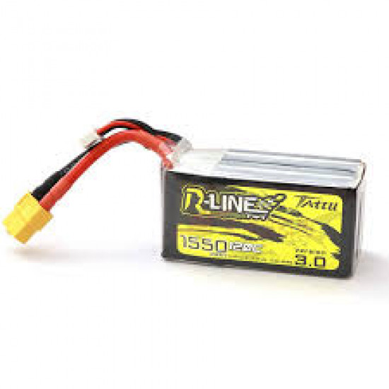 Tattu R-Line Version 3.0 1550mAh 14.8V 120C 4S1P Lipo Battery Pack with XT60 Plu
