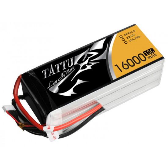 Tattu 16000mAh 22.2V 15C 6S1P Lipo Battery Pack